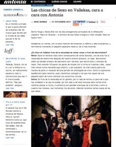 Sexo en Vallekas en Antonia Magazine