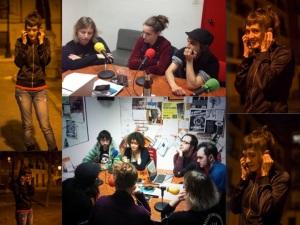 El equipo Cabanyal Z en Café con Vistas con Selma al teléfono